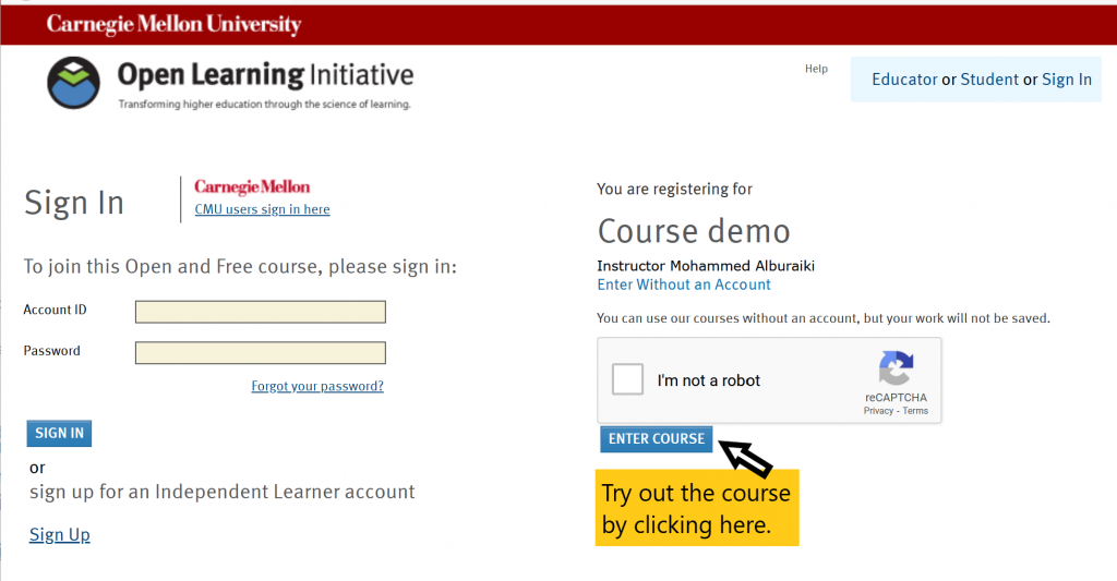 Example how to login to try courses